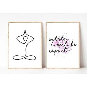 Din A4 Kunstdruck ungerahmt 2-teilig Yoga Figur Minimalismus - inhale exhale repeat - Entspannung Atmung Typographie Druck Poster Deko Bild
