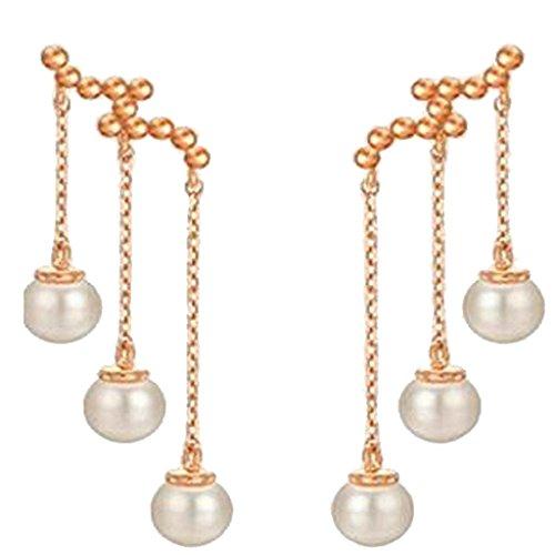 ADFHGFJ Frauen Gold üBerzogene Perle Lange Kette Quaste Dangle Ohrringe Lineare Ohrringe Brautschmuck Geschenk FüR Sie