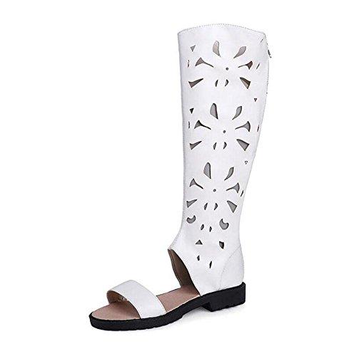 GLTER Frauen Open Toe Sandalen PU Stoff High Stiefel Side Low Heel Schuhe Gro