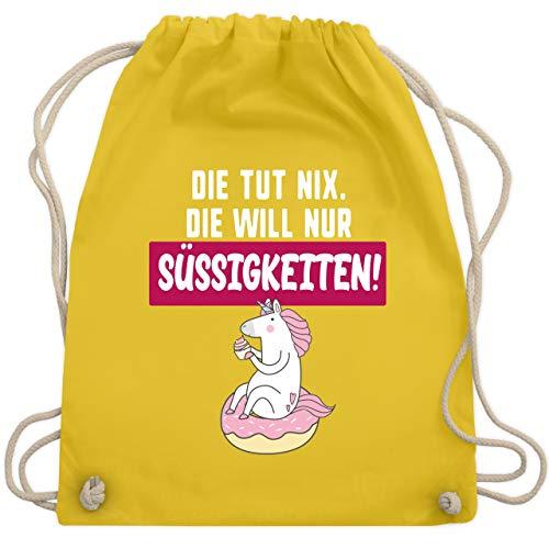 Statement Shirts - Die tut nix. Die will nur Süßigkeiten! - Unisize - Gelb - WM110 - Turnbeutel & Gym Bag (Und Lutscher Roten Die Grünen)