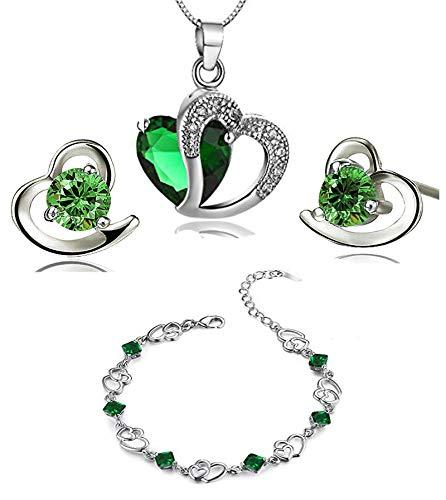 ement Amethyst rot, rosa, blau weiß Kristall-Herz Silber Anhänger Halskette + Ohrring + Armband für Frauen Mädchen. (F497) (grüne Kristall-Set) ()