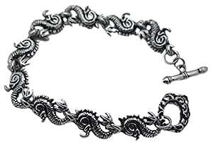 viking Bracelet Homme Dragon Tribal Acier Inoxydable biker rock Couleur Noir Argent