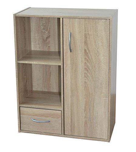 Alsapan compo 09 mobiletto in legno con strato superficiale in melammina, con un'anta, un cassetto e due ripiani a forma di cubo, 80 x 61,5 x 29,5 cm