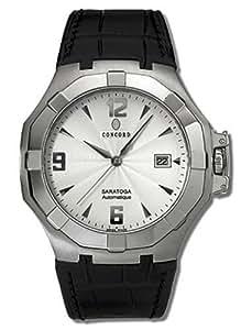 Concord - 0310833 - Saratoga - Montre Homme Acier - Automatique Analogique - Cadran Argent - Dateur - Bracelet Cuir Noir