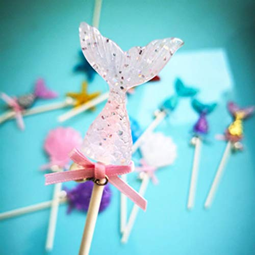 htrdjhrjy 1 Stück Party Kuchen Dekoration Meerjungfrau Muffin Cupcake Dekoration unter dem Meer Geburtstag Party Seestern Muschel für Zuhause Dekoration - Pink Fish Tail