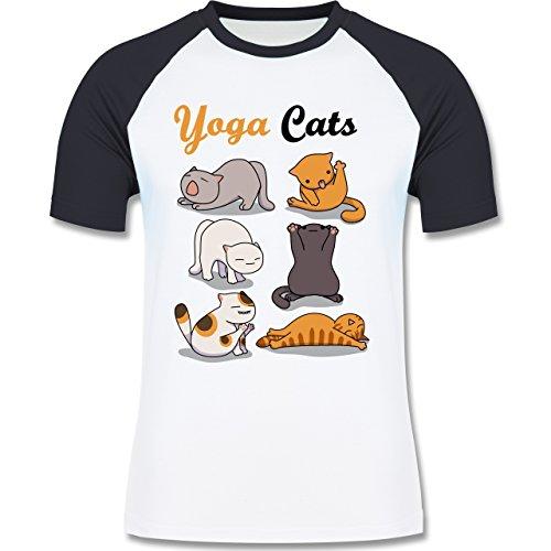 Shirtracer Statement Shirts - Yoga Cats - Herren Baseball Shirt Weiß/Navy Blau