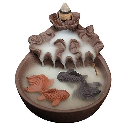 Zwei Fische Räucherstäbchen Halter, Keramik Räucherstäbchenhalter mit 10PCs Rückfluss Räucherkegel, Rückfluss Räuchergefäß Räucherstäbchen Rückfluss