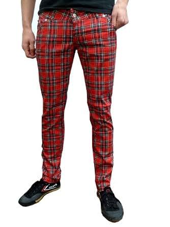 mens and ladie skinny tartan trousers 26 28 30 32 34 (34)