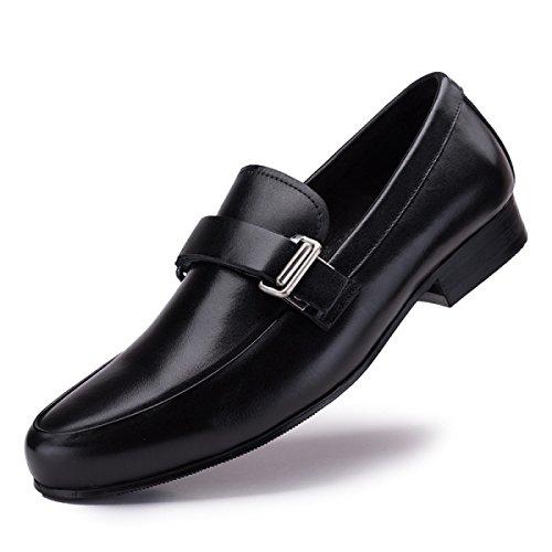 GRRONG Chaussures En Cuir Véritable Pour Homme Daffaires Tenue En Cuir Noir Et Marron Black