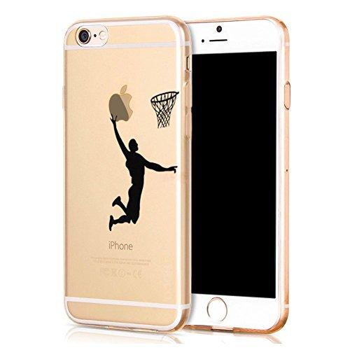 Schutzhülle für Apple iPhone 6, iPhone 6Hülle, Creative bemalt Serie umfassende Schutz Slim Bumper [Ultradünn] Back Cover Case mit weicher flexibler transparent TPU Material für Apple iPhone 6(11,9cm) (schwarz Basketball Man)