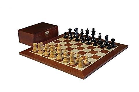 French Knight Black Mahogany Chess Set