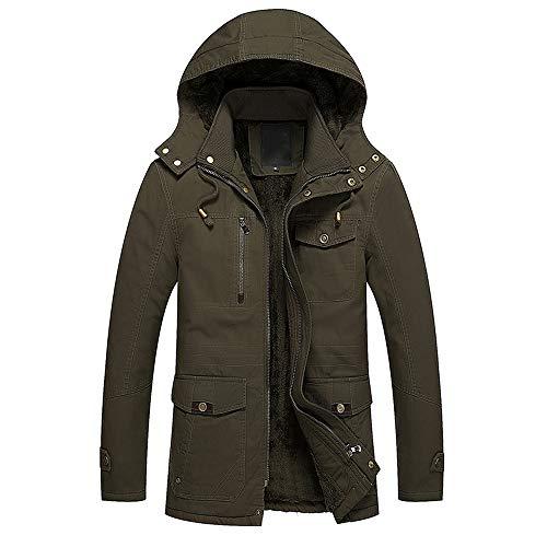 ALIKEEY Herren Herbst Winter Jacke Casual Pocket Button Zipper Hoodie Thermische Top Coat M Armeegrün