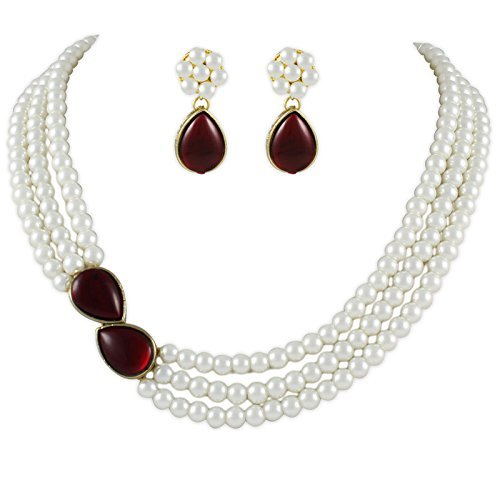 Shining Diva Party Wear Stylish Pearl Necklace Jewellery Set with Earrings For Women / Girls