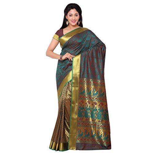 Varkala Silk Sarees Women's Art Silk Paithani Saree With Blouse Piece(HF1101RMRD_Brown_Free Size)