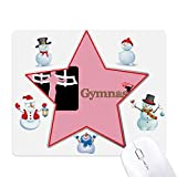 Tappetino per mouse con disegno di anelli da ginnastica cinese, con pupazzi di neve e stelle.