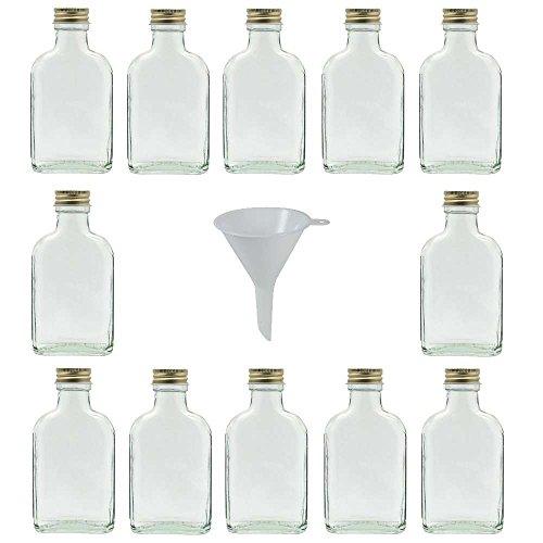 Viva Haushaltswaren - 12 x kleine Glasflasche 100 ml mit Schraubverschluss, als Flachmann, Schnapsflasche & Likörflasche geeignet (inkl. Trichter Ø 7 cm)