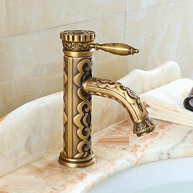 Badezimmer Waschbecken Wasserhahn mit Messing Antik-Finish-Bambus-Form-Design Körper Formen Draht