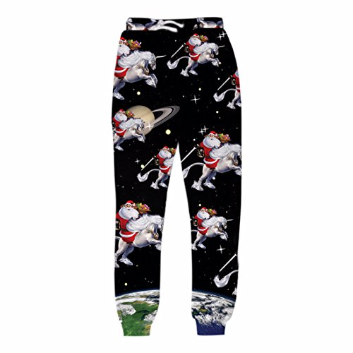 Men's Christmas Cats 3D Printed Galaxy Trousers Black