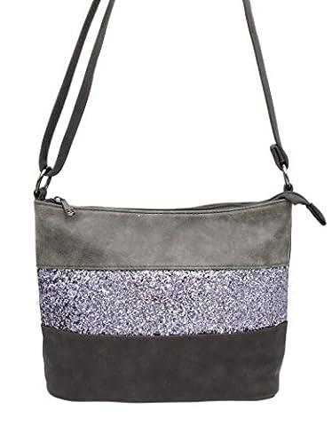 Gallantry -Sac bandoulière / sac porté épaule / sac paillettes femme / Sac Strass (Gris)