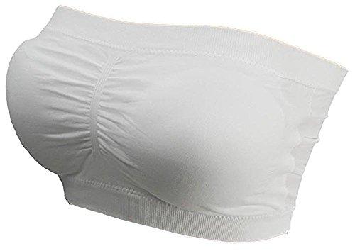 Damen Bandeau Bra trägerlos Unterhemd TOP GoGo Sport Bh Push Up Uni Größe bnu (weiss)
