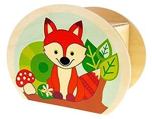 Hess Holzspielzeug 15216 - Hucha de Madera con Llave, Animales del Bosque, búho, Erizo y Zorro, Regalo de cumpleaños para niños, Aprox. 11,5 x 8,5 x 6,5 cm