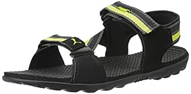 Puma Unisex Silicis Mesh DP Black, Dark Shadow and Lime Punch Rubber Athletic & Outdoor Sandals - 10 UK