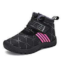 Voovix Boys Girls Winter Shoes Snow Boots Water Resistant Warm Fur Lined Snow Ankle Trainers
