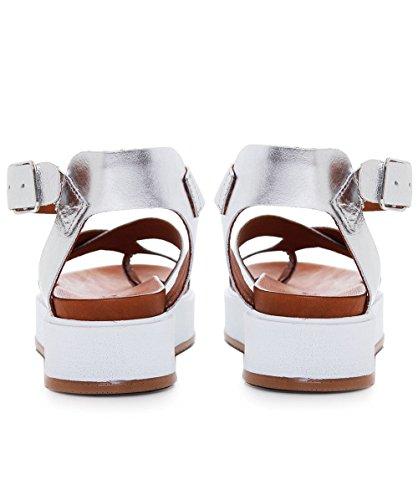 Inuovo Damen Multi Strap Sandalen aus Leder Silber Silber