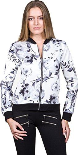 Blouson Damen Übergangsjacke Blumenprint Fliegerjacke mit Blumen Retro Pilotenjacke floral Blüten Muster Bomberjacke (M/L, Weiß /...