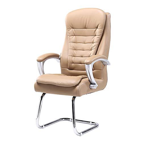Chefsessel Schreibtischstuhl, Bogen Fuß Ergonomische Computer-Schreibtisch-Stuhl Eingebauter Spring Pack Tragfähigkeit: 360lbs (Color : Khaki) -