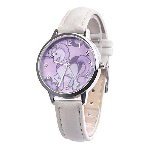 YULINGSTYLE Einhorn-Uhr Unicorn watchHigh-End-Uhren Mode niedlichen Tier Kinder mädchen Lederband analog Legierung quarzuhrDie neuesten 2019 Elektronische Kinderuhr