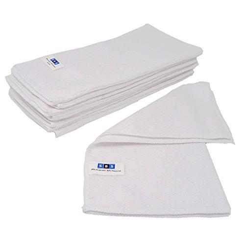 SBS Microfasertücher 10 Stück | 30 x 30 cm | waschbar | weiß | für Haushalt, Auto Motorrad etc. | Putztücher | Poliertücher | Haushaltstücher
