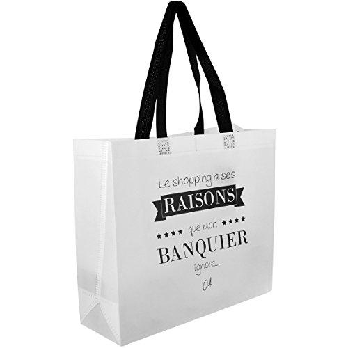 Promobo Sac Pour Course Shopping Cabas Citation Le Shopping A Ses Raisons Blanc