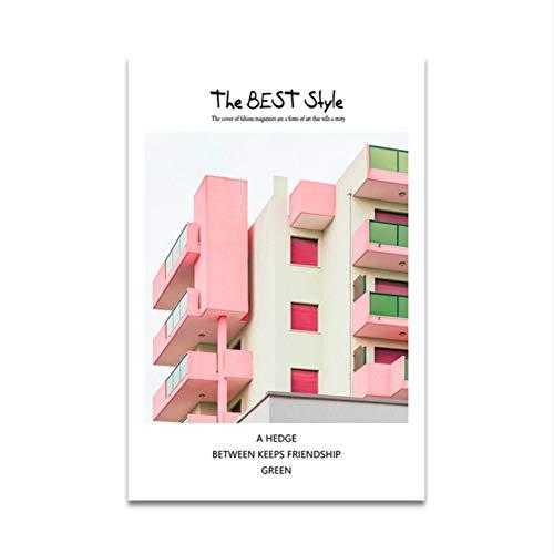 XWArtpic Kreative The Best Style Poster und Drucke auf Leinwand Kunst Landschaft Bild für Wohnzimmer Wohnkultur Rosa Außengebäude 60 * 80 cm