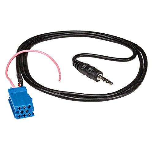 tomzz Audio 7500-008 AUX-IN Adapter auf Klinke 3,5mm Kupplung Mini-ISO blau, für Becker, Blaupunkt, Länge ca. 1m