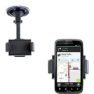 Compact Windshield Mount compatible with Motorola Atrix 2 for the Car / Auto - Flexible Suction Cup Cradle Holder for the Vehicle