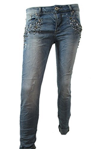 Donna Super Jeans Stretch Strass Perle Pantaloni - Metà Blue,