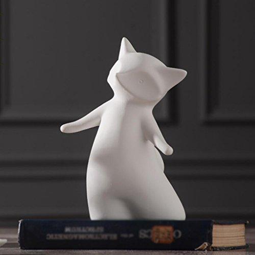 Skulptur Kunstwerk WYQLZ Desktop Dekor Moderne Minimalistische Keramik Skulptur White Little Fox Handwerk Ornamente Wohnzimmer TV Schrank Obstteller Wohnaccessoires (Größe : 11 * 9.5 * 20cm) (Skulpturen Fox)
