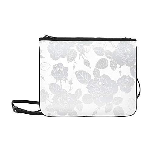 WOCNEMP Abstrakte Hand gezeichnete silberne Rosen-weißes Muster-Gewohnheits-hochwertiges dünnes Nylon-Handtasche Cross-Body Bag Umhängetasche