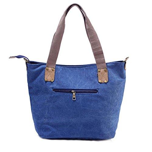 mit Canvas GWELL Reißverschluss mit blau Stern Schultergurt grau Umhängetasche Handtasche und dEdqr1