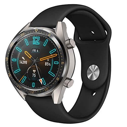 Feitb Silikonband Sport Ersatzarmband,Handschlaufe,hautfreundliches, weiches,für Damen, Herren, Mädchen,Uhrenarmband für Huawei Uhr GT Smart Watch 22mm (schwarz) - Uhrenarmbänder Mädchen Für