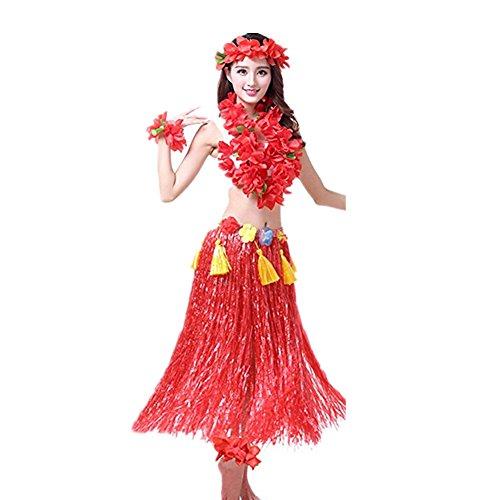 Hawaiano Hula Vestido Falda Hierba Guirnaldas de flores Accesorios de playa  Dance Costume Disfraces Rojo 81c7c2b57f6e