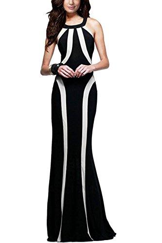 Robe de soirée Maxi féminin élégant Patchwork Colorblock Swing Black