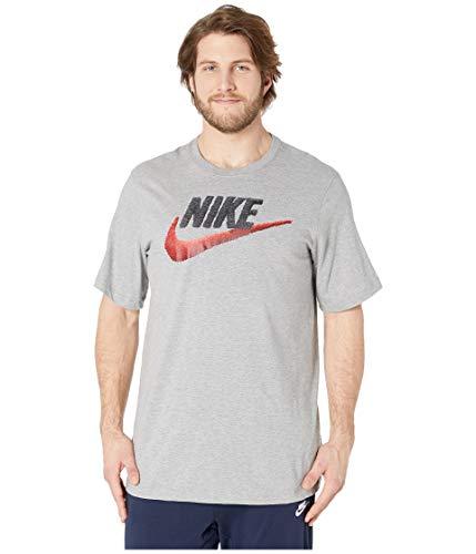 Nike Herren M NSW Tee Brand Mark T-Shirt, dk Grey Heather/Black/University red, XL-T -