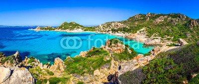 "Poster-Bild 50 x 20 cm: ""Beautiful coastline beach panorama in Maddalena islands, Italy"", Bild auf Poster"