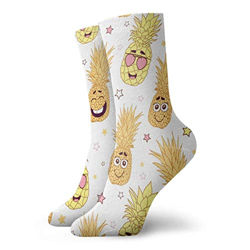 Zhengzho Socken atmungsaktiv Spaß Ananas Gesichter wiederholen Muster Crew Socke exotische moderne Frauen & Männer gedruckt Sport athletische Socken 30 cm (11,8 Zoll) - Frauen Athletische Socken