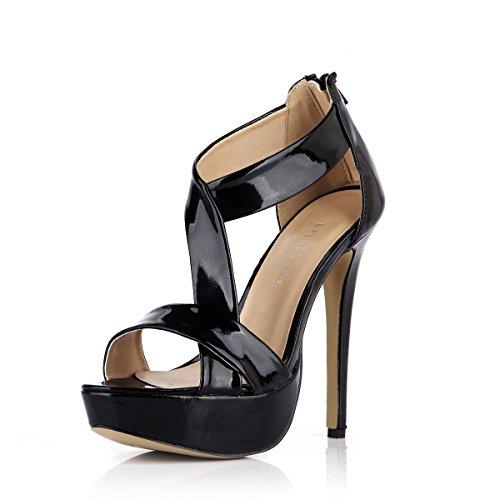Best 4U® Frauen Sommer Patent Leder T-Strap Sandalen Peep Toe 14 CM High Heels 3 CM Plattform Gummisohle Reißverschluss Schuhe , EU35 (Patent T-strap Pump)