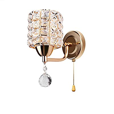 ONEVER Crystal Wall Light Fixture with Pull Cord Switch for Living Room Bed Room Kitchen and Porch, 7W E14 Led Candle Light Bulb Included as Gift, AC 85-250V, Golden from ONEVER