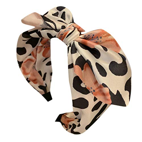 Dhyuen Frauen Stirnband Leopard Bow Knot Bandbreite Seite Kopfschmuck Zubehör Stirnband Mädchen Head Hoop -