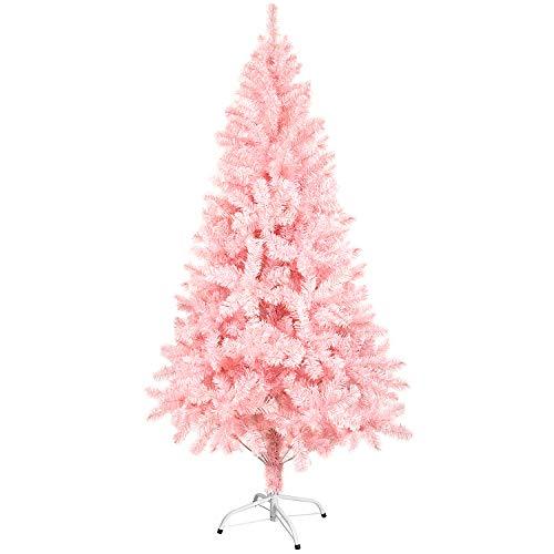 Sunjas Weihnachtsbaum künstlicher, 120/150 cm in Pink Tannenbaum, Christbaum, inkl. Metallständer, schwer entflammbar (150cm)